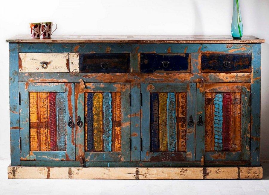 bunte vintage kommode 165x90x45 cm teak altholz massiv ebay. Black Bedroom Furniture Sets. Home Design Ideas