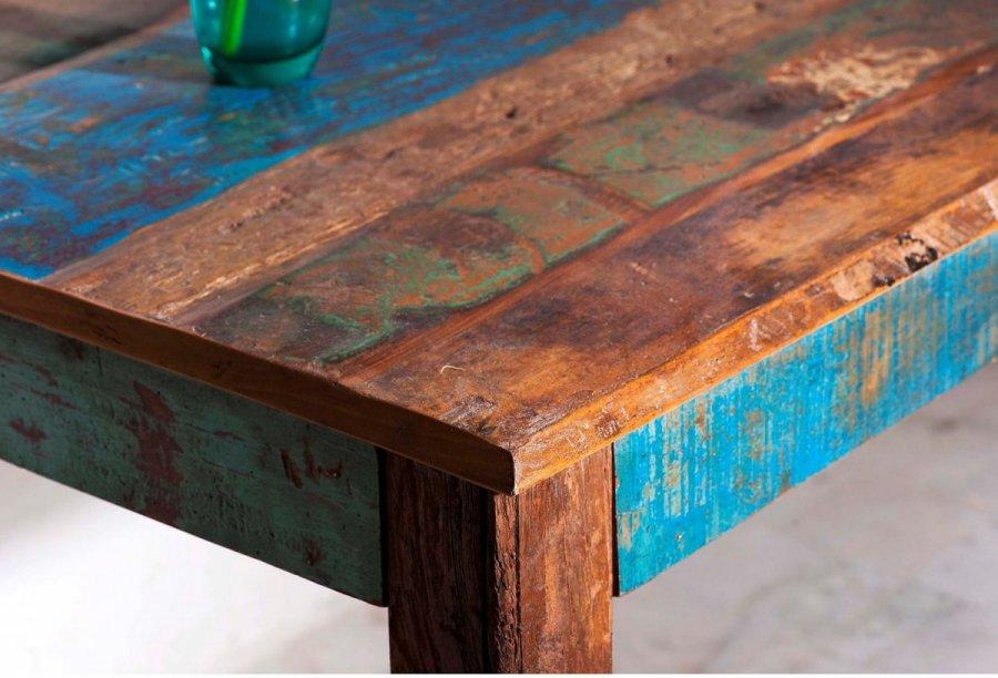 Esstisch Möbel Block ~ Kolonialmöbel Block Esstisch Distress, 90x180cm Shabby Vintage Möbel bunt  eBay