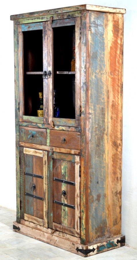 Kolonial vitrine schrank 90x180x40cm indische m bel for Kolonial schrank