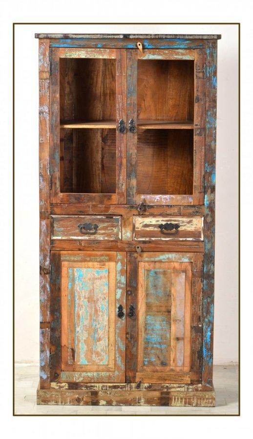 shabby chic m bel vintage vitrine 90x180x40cm. Black Bedroom Furniture Sets. Home Design Ideas