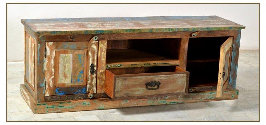 tv board kolonial elegant lowboard tv rack tv board akazie teilmassiv weiss und kolonial ebay. Black Bedroom Furniture Sets. Home Design Ideas