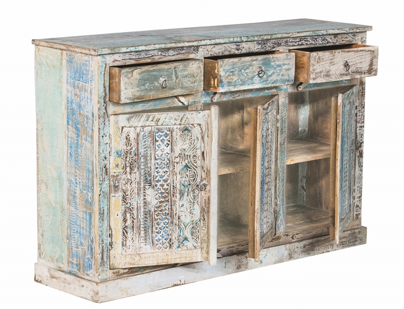 shabby chic vintage sideboard wei 150x95x40cm massivholz. Black Bedroom Furniture Sets. Home Design Ideas