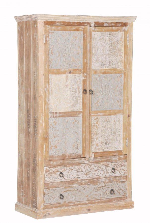 shabby chic vintage schrank 107x188x50cm massiv. Black Bedroom Furniture Sets. Home Design Ideas
