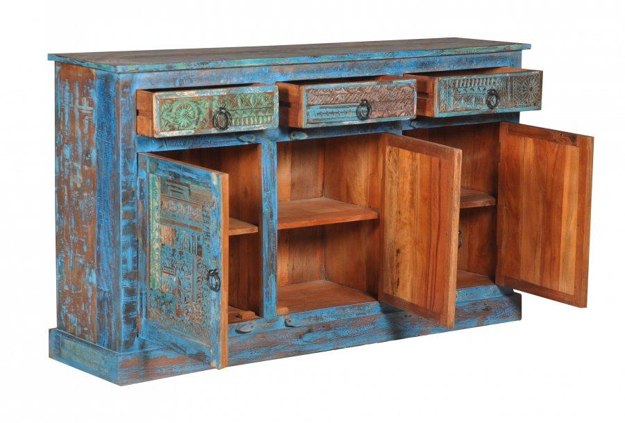 Blaue Kommode Sideboard 150x85x40cm Vintage Mobel
