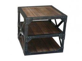 Vintage Massivholz Eisen Beistelltisch 60x60x60cm