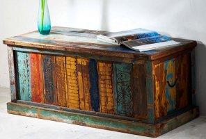 Shabby Chic Vintage Truhe 105x45x45cm Massiv