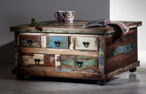 Vintage Möbel Couchtisch Truhe  90x47x90cm