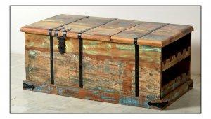 Vintage Möbel Couchtisch Weintruhe 108x45x56cm