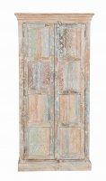 Shabby Chic Möbel Schrank 90x180x40cm Massiv