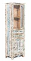 Shabby Chic Möbel Vitrine 60x185x40cm Massiv