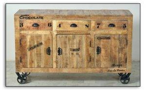 Vintage Retro Sideboard auf Rollen 140x86x40cm Massiv