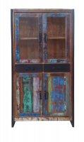 Vintage Möbel Altmetall Vitrine 86x175x35cm Massiv