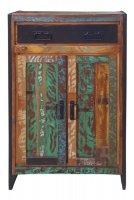 Vintage Massivholz Metall Hochkommode 76x110x35cm