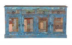 Blaue Kommode Sideboard 180x85x40cm Vintage Möbel