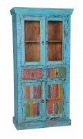 Vintage Möbel Vitrine Massiv 90x180x40cm