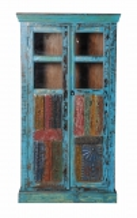 Vintage Möbel Blaue Vitrine Schrank  97x178x50cm Massiv