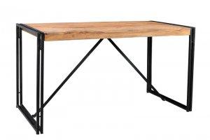 Sheesham Möbel Metall Tisch 140x76x70cm Massiv