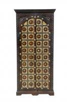 Kolonialmöbel Schrank 90x190x50cm Massivholz mit Verzierungen