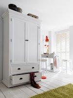 Schrank Garderobe Weiß 110x190x55cm Massiv