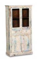 Shabby Chic Möbel Vitrine 90x180x40cm Massiv