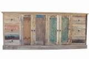 Teakmöbel Teakholz Sideboard 210x90x45cm Massiv