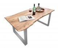 Tisch Akazienholz mit Baumkante Antikfinish Gestell Silber 85x160cm Plattenstärke: 2,6 cm