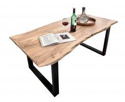 Tisch Akazienholz mit Baumkante Antikfinish Gestell Schwarz 90x180cm Plattenstärke: 2,6 cm