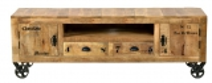 Retro Lowboard auf Rollen 200x55x40cm Massiv