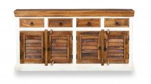 Massivholz Kommode Weiß 170x85x40cm Akazienholz