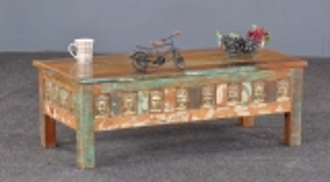 Vintage Massivholz Couchtisch 115x40x55cm