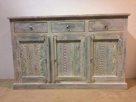 Shabby Chic Vintage Sideboard weiß 150x95x40cm Massivholz