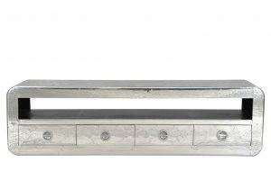 Silber Lowboard aus Mangoholz mit Alu 200x56x40cm