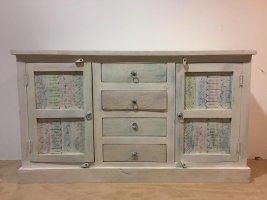 Shabby Chic Möbel Vintage Kommode weiß 140x80x40cm