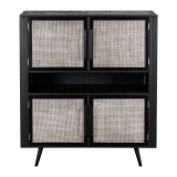 Regal Kommode Schwarz Rattan Metall 130x150x45cm Massiv