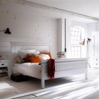 Bett Weiß 160x200cm Mahagoniholz Massiv