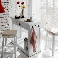 2er Stuhl mit Küchentisch Weiß 105x85x50cm Massiv