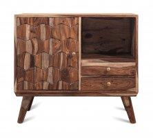 Vintage Massivholz Nachttisch Kommode Akazie 80x70x40cm