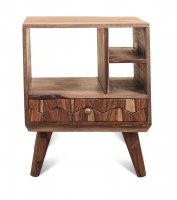 Vintage Massivholz Nachttisch Kommode Akazie 50x60x50cm