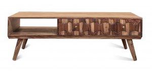 Vintage Massivholz Couchtisch Akazie 140x45x60cm