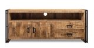 Vintage Massivholz TV Board Mangoholz mit Metall 160x65x45cm