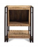 Vintage Massivholz Nachttisch Mangoholz mit Metall 50x60x50cm