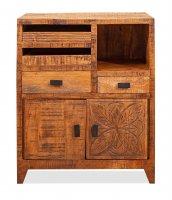 Vintage Massivholz Nachttisch Mangoholz 50x60x40cm