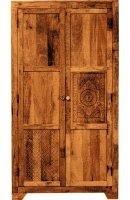 Vintage Massivholz Schrank Mangoholz 90x190x50cm
