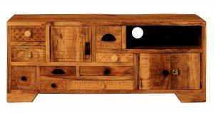 Vintage Massivholz TV Board Mangoholz 125x49,5x45cm