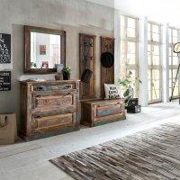 Vintage Möbel Massivholz Dielen-Set Schuhschrank kleiner Schuhschrank Garderobe Spiegel
