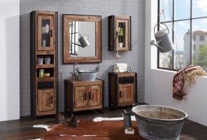 Mango Möbel Metall Bad-Set Hochschrank Unterschrank Spiegel kl.Schrank Hängeschrank