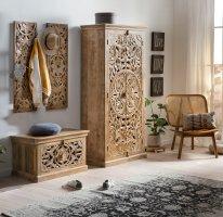 Vintage Massivholz Möbel Dielen-Set Schuhschrank Garderobe Kleiderschrank