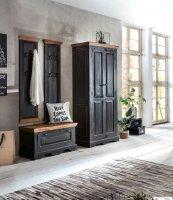 Kolonial Möbel Massivholz MDF Dielen-Set Schuhschrank Garderobe Kleiderschrank