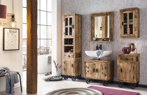 Vintage Bad-Set Hochschrank Unterschrank Spiegel kl.Schrank Hängeschrank