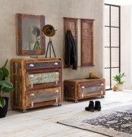 Vintage Massivholz Dielen-Set gr.Schuhschrank kl.Schuhschrank Garderobe Spiegel